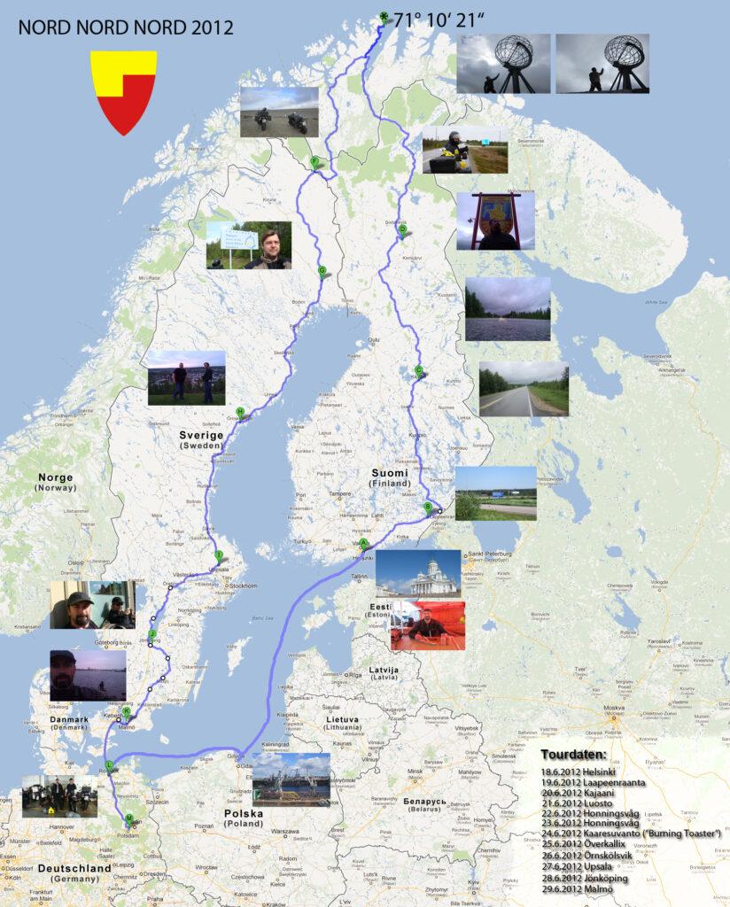 Der Tourverlauf von Berlin zum Nordkapp und zurück